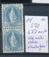 Schweiz Nr. 62 D */ ** Verschobenes Wz. (ed578  ) Siehe Scan - 1882-1906 Wappen, Stehende Helvetia & UPU