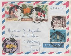 LIBAN BEYROUTH 1963 LETTRE POUR EPERNAY FRANCE - FRUITS, SOLDAT, MAIN... VOIR LE SCANNER - Liban