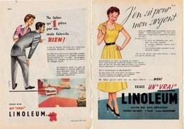 """Pub.1955 LINOLEUM   """"ne Faites Qu'une Pièce Par An, Mais Faites-la BIEN ! """"  2 Pages  TBE - Publicités"""