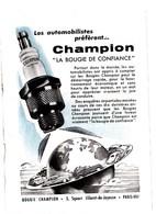 """Pub.1947  CHAMPION """" La Bougie De Confiance """" TBE - Publicités"""