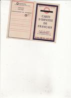 CARTE D'IDENTITE  DE FRANCAIS  ETAT FRANCAIS Timbre National Gratuit 13 Dec 1943 - Cartes