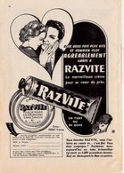 """Pub.1954 RAZVITE Crème Rasage Tube Ou Boîte  """"se Raser En Un Instant,sans Savon,ni Blaireau """"  TBE - Publicités"""