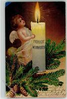 39181797 - Weihnachten Kerze Tannenzweig Tannenzapfen AK - Angels