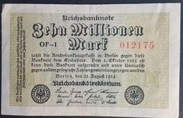 EBN5 - Germany 1923 Banknote 10 Millionen Mark Pick 106a #OF-1 012175 - [ 3] 1918-1933: Weimarrepubliek