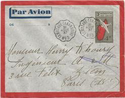 ENTIER PA 4FR50 AVION ENVELOPPE CONVOYEUR TAMATAVE TANANARIVE N° 3 31 AOUT 1937 - Madagascar (1889-1960)