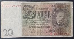 EBN5 - Germany 1929 Banknote 20 Reichsmark Pick #181a F.22579793 - [ 3] 1918-1933 : Weimar Republic