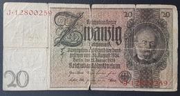 EBN5 - Germany 1929 Banknote 20 Reichsmark Pick #181a J.12800259 - [ 3] 1918-1933: Weimarrepubliek