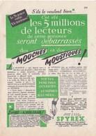 """Pub.1953  SPYREX  Insecticide  """"  Mouches Et Moustiques ! """"  """" Toutes Fenêtres Ouvertes...lumières Allumées..."""" TBE - Publicités"""