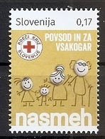 SLOVENIA 2018,RED CROSS,,,SMILE,SURCHARGE,ADITIONAL STAMPS,,,MNH - Slovénie