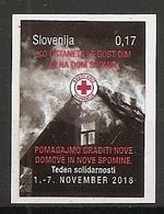 SLOVENIA 2018,RED CROSS,SOLIDARITY,FIRE,HOUSE,SMOKE,HELP,ADHESIV,SELBSTICK,MNH - Firemen