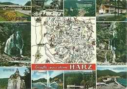 AK Landkarte Harz 10 Orte / Sehenswürdigkeiten Mehrbild Farbfoto ~1970 #1354 - Maps
