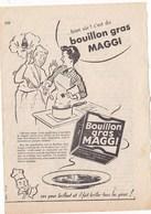 """Pub.1953  MAGGI Bouillon Gras """" Bien Sû R:c'est Du Bouillon Gras MAGGI,ses Yeux Brillent Et Il Fait Briller Les Yeux !"""" - Publicités"""