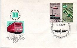 """DDR Amtl. GZS-Umschlag U 3 50(Pf) Neben 85(Pf) Mehrfarbig """"Sozialistisches Eisenbahnwesen"""" ESSt 24.9.85 BERLIN - DDR"""