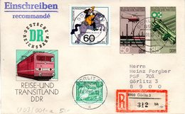 """DDR Amtl. GZS-Umschlag U 3 ZF 50(Pf) Neben 85(Pf) Mehrfarbig """"Sozialistisches Eisenbahnwesen"""" TSt 24.9.90 GÖRLITZ 3 - DDR"""