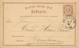 PFORZHEIM  - 1874  , Ganzsache Nach Mannheim - Deutschland