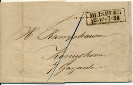 DUISBURG  - 1859 , Brief Mit Inhalt - Nach Gazweiler - Preussen