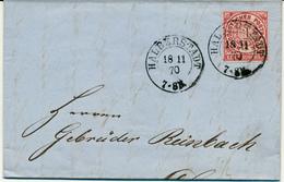 HALBERSTADT - 1870 , Brief Mit Inhalt - Nach Duisburg - Norddeutscher Postbezirk