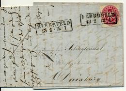 ELBERFELD - 1865 , Brief Mit Inhalt - Nach Duisburg - Preussen