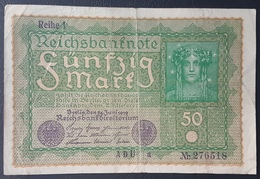 EBN5 - Germany 1919 Banknote 50 Mark Pick 69b Reihe 1 #ADU A 276518 - 50 Mark