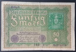 EBN5 - Germany 1919 Banknote 50 Mark Pick 69b Reihe 1 #ADU A 276518 - [ 3] 1918-1933: Weimarrepubliek