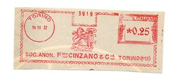 1932 Affrancatura Meccanica Rossa EMA Freistempel Frammento Cut Torino CINZANO Vino Spumante Vermout - Affrancature Meccaniche Rosse (EMA)