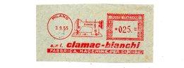 1955 Affrancatura Meccanica Rossa EMA Freistempel Frammento Cut Milano Calmac - Bianchi Fabbrica Macchine Per Cucire - Affrancature Meccaniche Rosse (EMA)