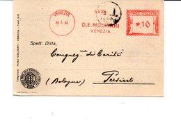 1930 Affrancatura Meccanica Rossa EMA Freistempel Venezia D. E. Molinari Commercio Carboni Su Cartolina Commerciale - Affrancature Meccaniche Rosse (EMA)