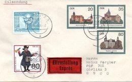 """DDR Amtl. GZS-Umschlag U 2 ZF20(Pf) Neben 35(Pf) Darunter 80(Pf) Mehrfarbig """"Burgen Der DDR"""" TSt 24.9.90 GÖRLITZ 3 - DDR"""
