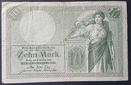 EBN5 - Germany 1906 Banknote 10 Mark Pick 9b #U 2630799 - [ 2] 1871-1918 : Impero Tedesco