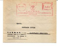 1942 Affrancatura Meccanica Rossa EMA Freistempel Bologna F.A.R.M.A.C. Stabilimenti Riuniti Già F.lli Zabban Su Busta - Affrancature Meccaniche Rosse (EMA)