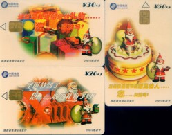 China Telecom Chip Cards, Christmas, Shaanxi Province, (3pcs) - Chine