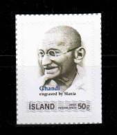 Slania, Gandhi Portrait Based On Engraving On Island Iceland Customized Stamp - Mahatma Gandhi