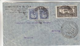 Brésil - Lettre De 1934 - Oblit Servico Aero Transoceanico Brasil Europa - Condor Zeppelin - Exp Vers Seraing - Zeppelins