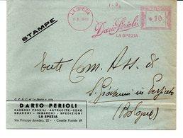 1939 Affrancatura Meccanica Rossa EMA Freistempel La Spezia Dario Perioli Carboni Fossili Antarcite Coke Su Busta - Affrancature Meccaniche Rosse (EMA)