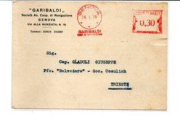 1936 Affrancatura Meccanica Rossa EMA Freistempel Genova GARIBALDI Coop. Di Navigazione Navi Ship Cartolina Commerciale - Affrancature Meccaniche Rosse (EMA)