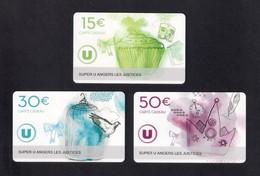 3  Carte Cadeau SUPER U  ANGERS LES JUSTICES  (49).   Gift Card. Geschenkkarte - Gift Cards