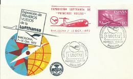 ESPAÑA SOBRE PRIMEROS VUELOS LUFTHANSA - 1971-80 Briefe U. Dokumente