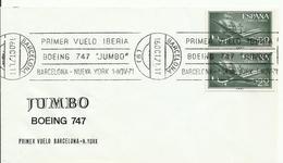 ESPAÑA SOBRE PRIMER VUELO JUMBO BARCELONA/N. YORK - 1971-80 Briefe U. Dokumente