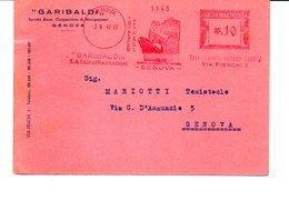 1942 Affrancatura Meccanica Rossa EMA Freistempel Genova GARIBALDI Coop. Di Navigazione Nave Cartina Linea Reg. A.O.I. - Affrancature Meccaniche Rosse (EMA)