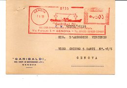 1956 Affrancatura Meccanica Rossa EMA Freistempel Genova GARIBALDI Coop. Di Navigazione Cartolina Commerciale - Affrancature Meccaniche Rosse (EMA)