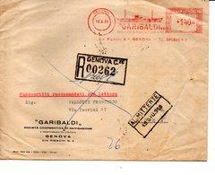 1958 Affrancatura Meccanica Rossa EMA Freistempel Genova GARIBALDI Coop. Di Navigazione Busta Raccomandata - Affrancature Meccaniche Rosse (EMA)