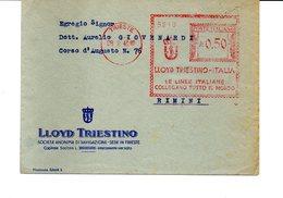 1940 Affrancatura Meccanica Rossa EMA Freistempel Trieste LLOYD-Triestino Navigazione Linee Italiane Collegano Mondo - Affrancature Meccaniche Rosse (EMA)