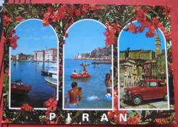 Piran / Pirano: Mehrbildkarte / Auto (Fiat?, Puch?) - Slovénie