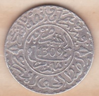 Maroc. 2 1/2 Dirhams (1/4 Rial) AH 1309 Paris. Hassan I , En Argent - Morocco