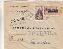 Nouvelle Caledonie - Lettre Recom De 1953 - Oblit Noumea - Exp Vers Port Vila - Bateaux - Hutte - Valeur 37,70 Euros - Nouvelle-Calédonie