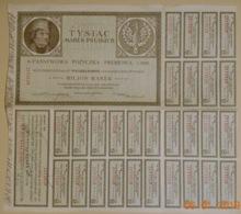 ACTION - EMPRUNT D'ETAT POLONAIS à 4 % De 1920 De 1000 MARK POLONAIS - TYSIAC MAREK POLSKICH - Banque & Assurance