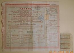 OBLIGATION - TITRE PROVISOIRE Cie CANAL DE PANAMA AVEC Et  C'EST TRES RARE 3 COUPONS NON ANNULES - Transports