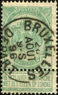 """COB   56  (o) Oblitération """"Bruxelles (Départ)"""" T0 - 1893-1907 Wappen"""