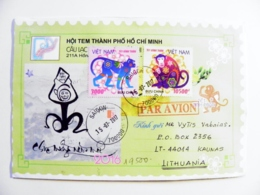 Cover Sent From Vietnam 2017 Animals Fauna Monkey Saigon - Viêt-Nam