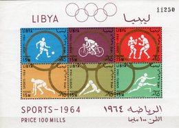 Olympia 1964 LIBYEN Block 8A ** 14€ Fußballer Boxer Lauf Hb Summer-Olympic Games Tokyo Sport Ss Bloc Sheet Olympics - Summer 1964: Tokyo